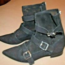 Topshop Boots Sz 38 8 Black Perforated Leather Metal Buckles Pointy Vguc Photo