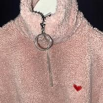 Topshop Borg Teddy Funnel Zip Blush  Jumper Size 8 Photo