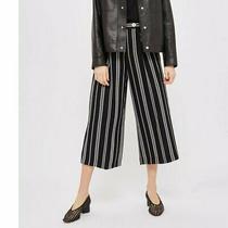 Topshop Broken Stripe Culotte Crop Wide Leg Pants Size 6 Womens High Rise Black Photo