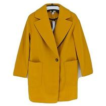Topshop Carly Coat Mustard Yellow Jacket W/ Oversized Pockets Women's Size 8 New Photo