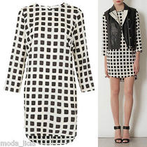 Topshop Celebrity Blurred Tunic Square Grid Print Eur42 Us10 Uk14 Dress Nwot  Photo