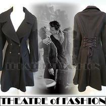 Topshop Coat 8 36 4 6 Jacket Corset Black Blue Vintage Riding 40s Victorian 50s Photo