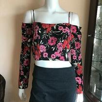 Topshop Cold Shoulder Floral Crop Top Black Red Pink Long Sleeve Size 10  Photo