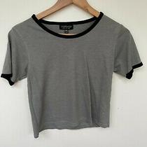 Topshop Cropped T Shirt Top Khaki Olive Grey Sage Green Size 8 Great Condition  Photo