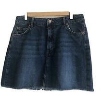 Topshop Denim Mini Skirt Raw Hem. Size 12. Excellent Condition Photo