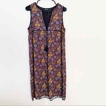 Topshop Floral Printed Babydoll Shift Dress Tassel Tie Front Euc Size 4 Photo