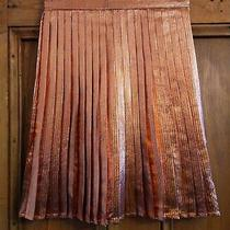 Topshop Gold Bronze Metallic Pleated Cotton Blend Mini Skirt Size 8 Rrp45 Photo