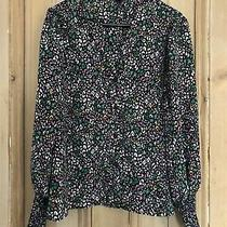 Topshop Green Black Pink Ditsy Blouse Gathered Cuffs Uk8 Photo