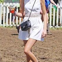 Topshop Iconic Skater Daisy Waist White Dress Uk8 Alexa Chung Photo