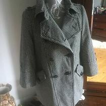 Topshop Jacket Wool Mix Size 6 Cream/ Black Check Immaculate  Photo