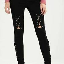 Topshop Jamie Jeans W24 L30 New W Tags Black Corset Knee High Waisted Skinny  Photo