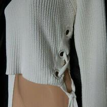 Topshop Jumper Sweater Cropped White Knit Corset Eyelet Lace Up Short 10 38 Us 6 Photo