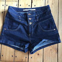 Topshop Ladies Dark Blue High Waisted Denim Hotpants W30 Photo