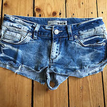 Topshop Ladies Reworked Distressed Light Blue Acid Wash Denim Hotpants W25  Photo