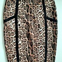 Topshop Leopard Print Black Strips Pencil Skirt 8 Photo