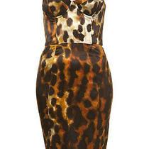Topshop Leopard Smudge Animal Satin Bodycon Corset Midi Pencil Dress 8 36 Us4 S Photo