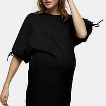 Topshop Maternity 10 Black Drawstring Midi Dress Bnwt Photo