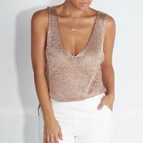 Topshop Metallic Knit Vest Cami Top New Years Glitter Rrp 38 Size 10 Photo