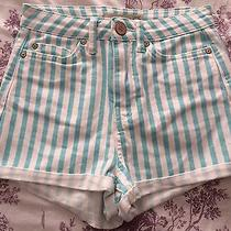 Topshop Moto Aqua Blue Stripe Size W26 Shorts Photo