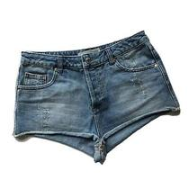 Topshop Moto Button Fly Jean Shorts Size 30 Women's 100% Cotton High Waisted  Photo