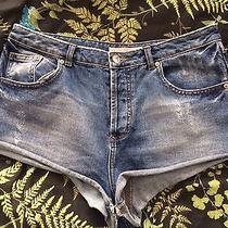 Topshop Moto Denim Blue Distressed Size W32 Shorts Summer Festival Photo