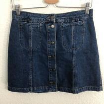 Topshop Moto Jean Skirt Sz 28 Blue Denim 100% Cotton Button Front Photo