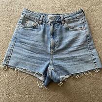 Topshop Moto Mom Blue Denim Hot Pant Western Style Jeans Shorts Uk Size 8 Photo