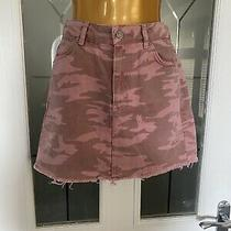 Topshop Moto Pink Camo Denim Skirt - Size 6 Photo