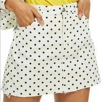 Topshop Moto Women's White With Black Polka Dot Distressed Denim Skirt Sz 6 Photo