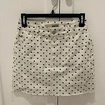 Topshop Moto Women's White With Black Polka Dot Distressed Denim Skirt Sz 4 Photo