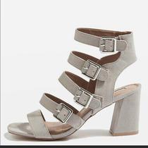 Topshop Naomi Buckle Heels Size 38 Suede Block Heel Grey Gladiator Sandal Pump Photo