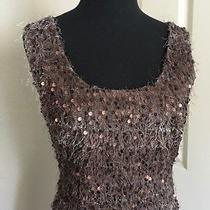 Topshop  New Chic Sequin Embellishment U Neck Sleeveless Bronzy Short Dress S Photo