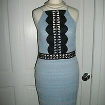 Topshop Pale Blue/black Swirl Lace Fitted Bodycon/wiggle/pencil Party Dress Sz 8 Photo