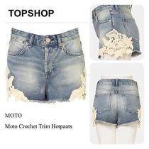Topshop Petite Crochet Denim Shorts Photo