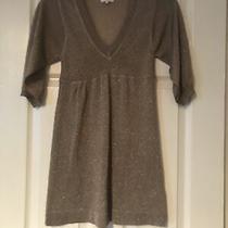 Topshop Petite Gold Sparkle Dress Size 4 Vgc 3/4 Sleeves Photo