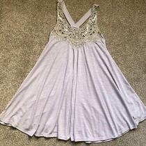 Topshop Petite Size 8 Light Grey and Gold Crochet Swing Vest Photo