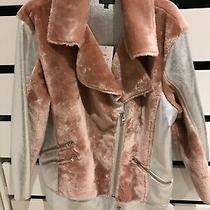 Topshop Pink & Silver Faux Fur Aviator Jacket Size 16 Bnwt Photo