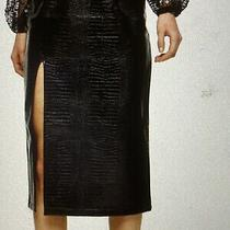 Topshop Pu Croc Pencil Midi Skirt Black Size 12 New With Tags Sold Out Online  Photo