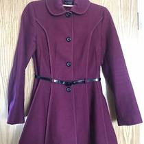 Topshop Red Burgundy Coat Uk Size 6 Us 2 Eur 34  Photo