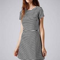 Topshop Sailor Striped Bonded Skater Dress Black & White Stripe 8 Photo