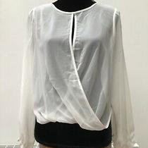 Topshop - Sheer Cream Party Going Out Lurex Long Sleeve Top Shirt - Size 8 Photo