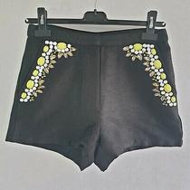 Topshop Shorts Women's Uk 8 Black Green Jewelled Hot Pants Embellished 453238 Photo