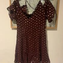 Topshop Size 12 Maroon Gold Party Dress Photo