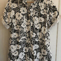 Topshop Size 12 Shirt Dress Grey and White Hawaiian Style Floral Casual Summer Photo