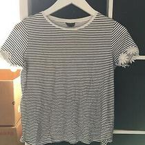 Topshop Size 8 Maternity White Blue Stripe Short Sleeve T-Shirt (J8) Photo