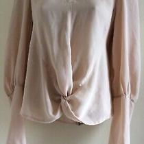 Topshop Size 8 Top Blouse Long Sleeve Blush Pink Twist Front Photo