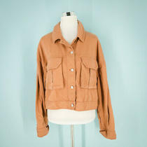 Topshop Size Us 12 Avril Shirt Jacket Spread Collar W/ Buttons Cropped Blush Nwt Photo