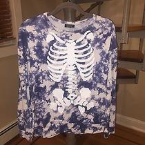 Topshop Skeleton Tie Dye Sweater Top Size Small 4 Halloween Costume Photo