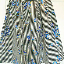 Topshop Skirt 16 Blue White Black Gold New Metallic Stripes Floral Midi Retro 80 Photo
