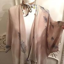 Topshop Sold Out Boho Hippy Feather Print Kimono Jacket 10 Photo